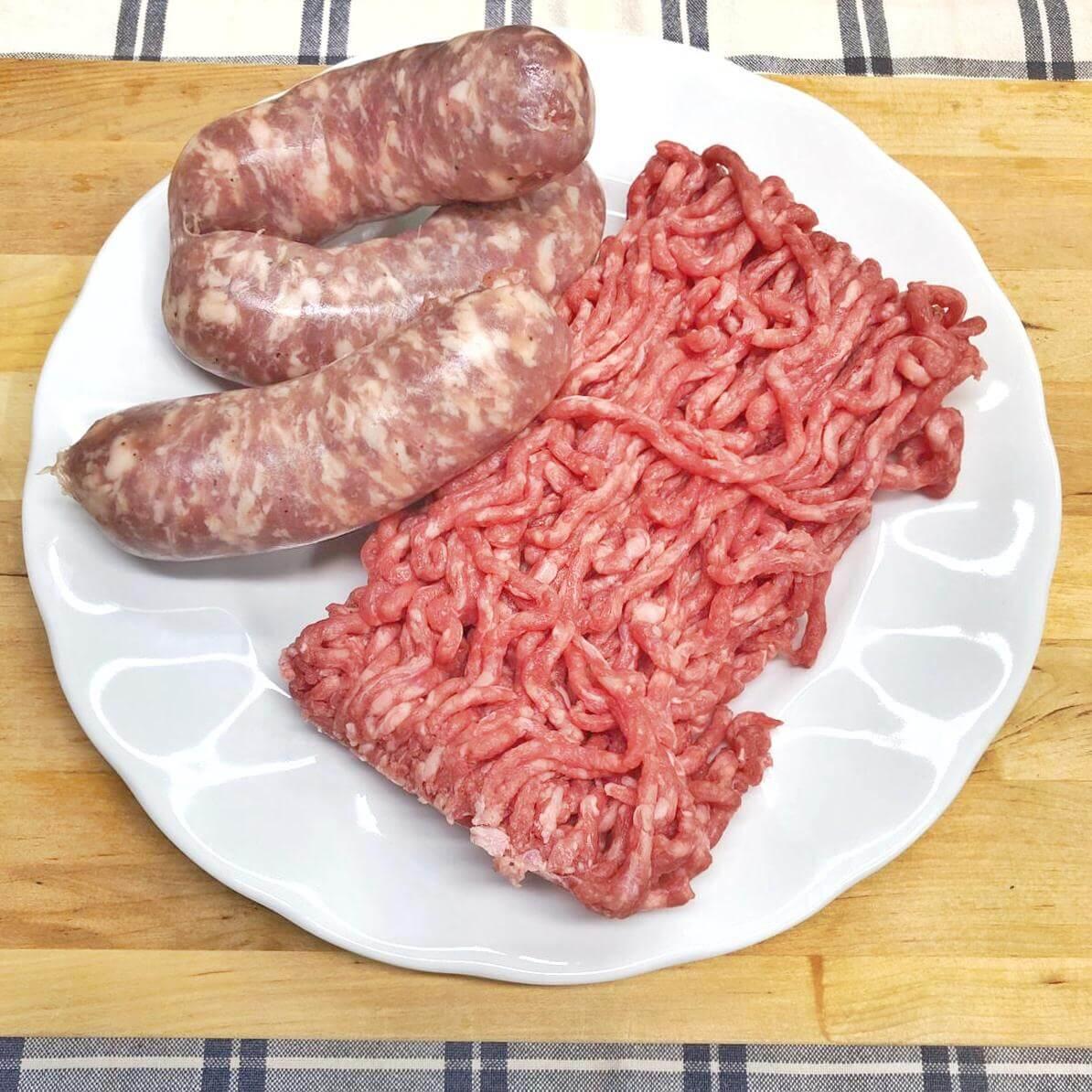 Macinato di carne e salsiccia