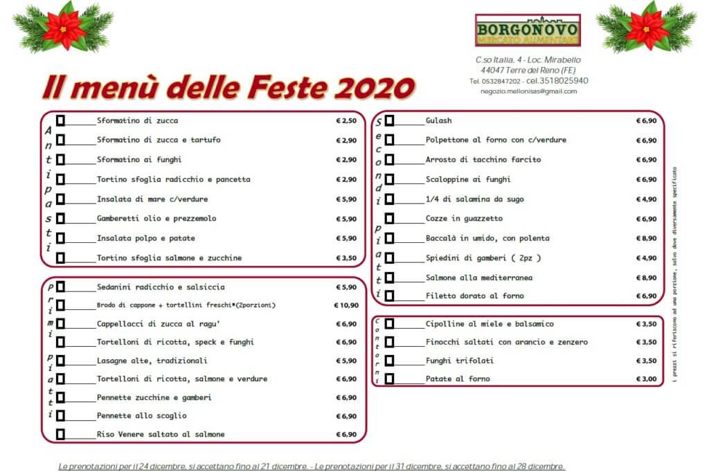 Menu feste Borgonovo 2020